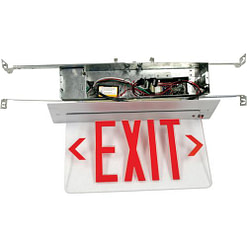 LED Exit Sign CARELZXTE-R, Single or Dual Face Ultra-Bright Red LED Panel with 4.6V NiCad backup Battery