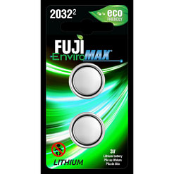 Fuji Battery CR2032, Two-coin size Li-Ion cells in blister packaging