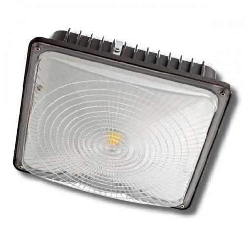 LED Canopy Light CPLED80W5K Steel housing, PC lens. Low profile supports surface or pendant installation.