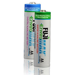 Fuji EnviroMax AA Batteries, Case quantities 96 to 576 cells. Blister packs 2, 4, 8, 24 and 48 cells.