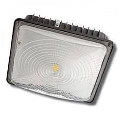 "CPLED-45W-5K, 10""x10"" LED canopy light, steel housing, PC lens. Low profile supports surface or pendant installation."