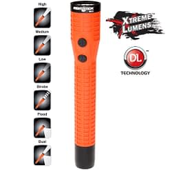9.5-inch polymer housing waterproof flashlight with spotlight, strobe light and side projecting beam.