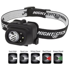 NSP-4610B Dual Light Headlamp with white LED spotlight plus white, red, green LED floodlight, Dual Light operation.