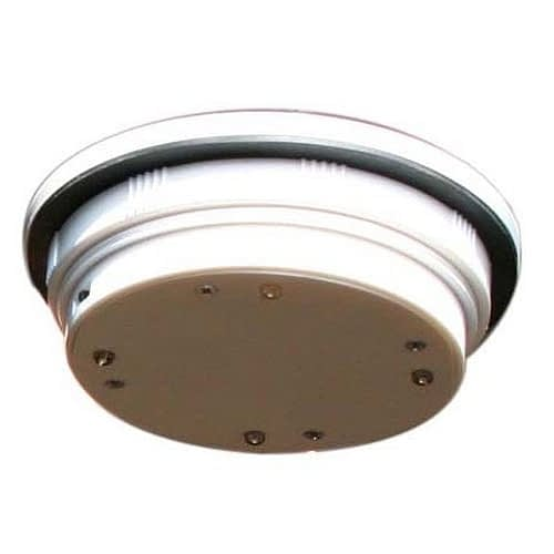Solar Pod Light SPL65 4-inch diameter hockey puck size solar lantern, 4 LED cluster, solar panel top. Photosensor activation.