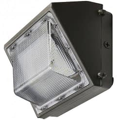 "LEDWP40SN semi-cutoff wall pack, 40W, 14""x8"" aluminum housing with PC lens."