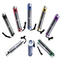 Adventure Solar Flashlight, aluminum body with solar panel, 5 LED cluster, six housing colors, built-in compass.