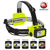 3x3x3.5-inch polymer LED headlamp, waterproof, spot-floodlight-dual light, white-red LED, weighs 269g, 3 AAA