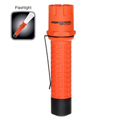 Tactical Fire Flashlight FDL-300R, 5.5-inch polymer body, rechargeable, 1-inch diameter, tail switch, white LED.