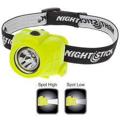 XPP-5452G Intrinsically Safe Headlamp, waterproof polymer body, high-low beam 180-90lm, spotlight, single switch, white LED