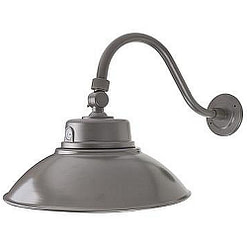 LED Barn Light GSNKYD-42W White or black with 14-inch aluminum shade, curved attachment arm and photosensor.