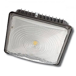 "LED Canopy Light CPLED45W5K, 10""x10"" LED canopy light, steel housing, PC lens. Low profile supports surface or pendant installation."