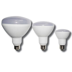 LED Light Bulb 12-LEDR20-7W BR shape 7W LED dimmable light bulb. Edison E-26 medium screw base fits standard socket.