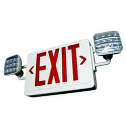 LED Emergency Exit Sign LEDCXTEU, Two 1W White Lamps Plus Red or Green Exit Sign, 90 Min. NiCad Battery