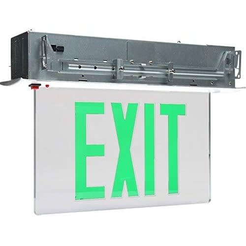LED Exit Sign CARELZXTE-G, Single or Dual Face Ultra-Bright Green LED Panel with 4.6V NiCad backup Battery